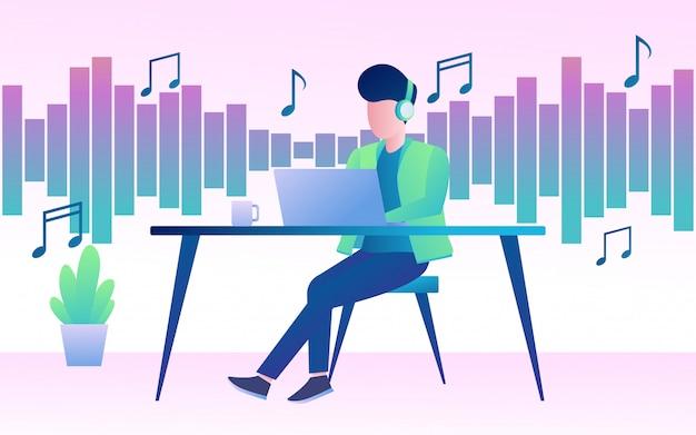 Un homme qui écoute une musique
