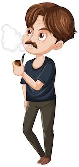 Un homme qui fume un personnage de dessin animé sur fond blanc