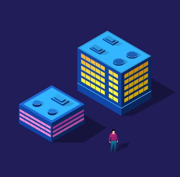 L'homme qui marche nuit ville intelligente 3d futur ensemble ultraviolet néon de bâtiments isométriques d'infrastructure urbaine.