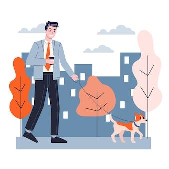 Homme qui promène un chien. homme d'affaires en plein air. idée de mode de vie actif. illustration en style cartoon