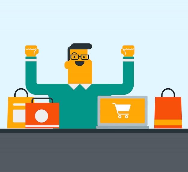 Homme de race blanche à l'aide d'un ordinateur portable pour faire des achats en ligne.
