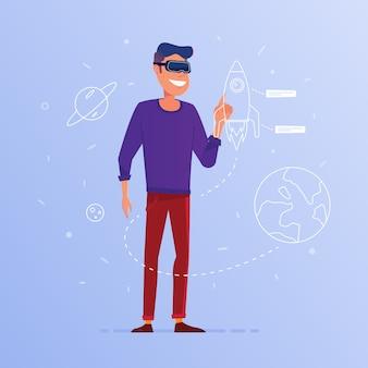 Un homme de race blanche dans le lancement du casque de réalité virtuelle.