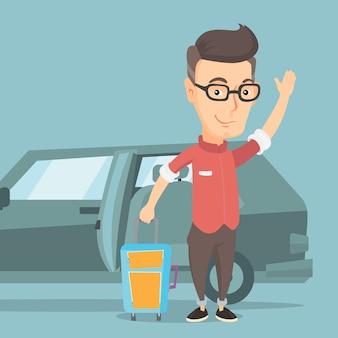 Homme de race blanche voyageant en illustration vectorielle de voiture