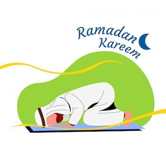 Homme de ramadan kareem pratiquant le sujood