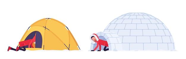 Homme de randonnée d'hiver dans un abri
