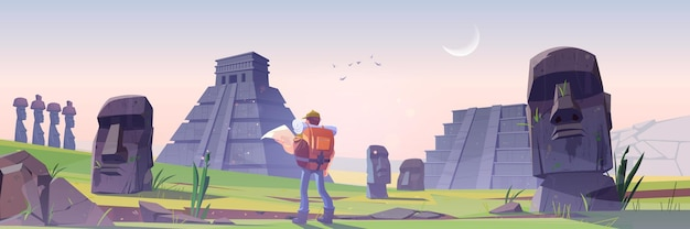 Homme de randonneur sur l'île de pâques avec d'anciennes pyramides mayas et statue moai