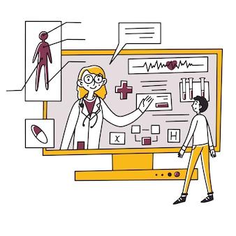 Homme recevant une consultation médicale en ligne