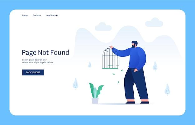 Homme recherchant un oiseau perdu dans la page de la cage introuvable dans un état vide