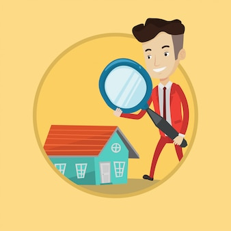 Homme à la recherche d'illustration vectorielle de maison.