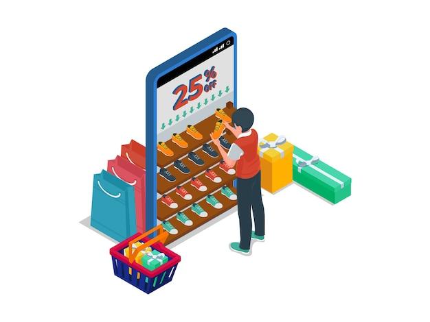 Homme à la recherche de produits à prix réduit dans le rack de chaussures. concept d'illustration isométrique e-commerce avec caractère masculin.