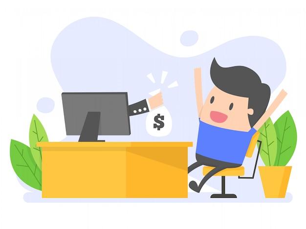 L'homme reçoit de l'argent des affaires en ligne.