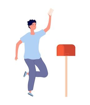 L'homme a reçu une lettre. adulte heureux, bulletin du travail ou de l'université ou des nouvelles importantes. livraison du service postal, illustration vectorielle de réception de courrier. personnage avec courrier, enveloppe de livraison dans la boîte aux lettres