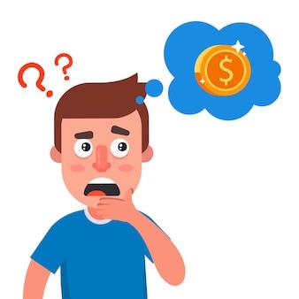 L'homme réfléchit où trouver l'argent