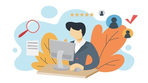 Homme regardant le profil de cv et faire un examen. responsable des ressources humaines faisant l'examen de cv sur ordinateur. recherche de candidat à embaucher. idée de recrutement. plat