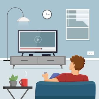 Homme regardant la télévision