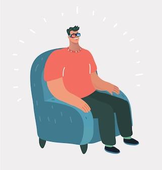 L'homme regarde la télévision dans des lunettes 3d