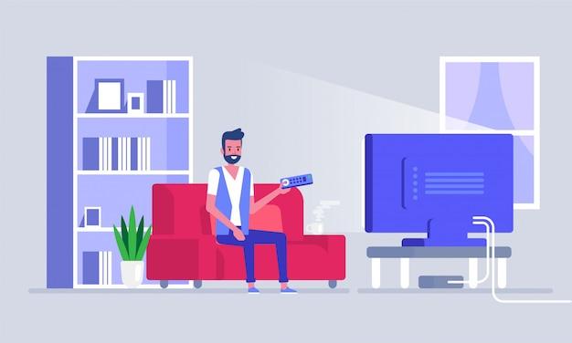Homme, regarder télé, sur, sofa, dans, maison, salle, intérieur homme, sur, sofa regarder tv