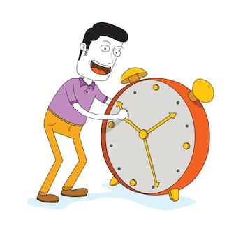 Homme réglage grand temps d'alarme