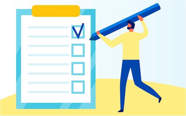 Un homme remplit un questionnaire avec un énorme dessin au crayon