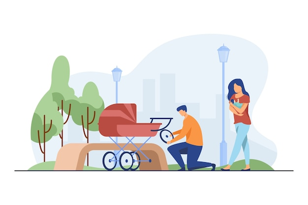 Homme réparant landau et femme nourrissant bébé. roue, parc, illustration vectorielle plat nouveau-né. maternité et allaitement