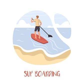 L'homme reste sur une planche de sup. stand up paddle boarding.
