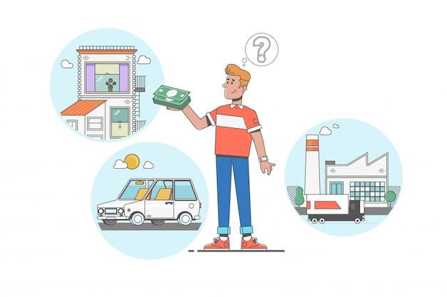 Homme rêvant de maison, investissement, usine et voiture après avoir gagné des dollars