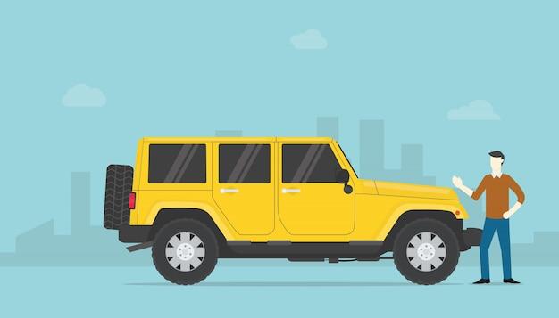 Homme riche en succès ou homme d'affaires prospère avec voiture de luxe et de la ville comme toile de fond avec un style plat moderne.