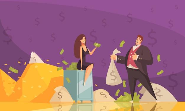Homme riche utilisant la richesse pour attirer l'attention de la femme avec des tas de billets affiche de fond de dessin animé plat