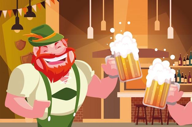 Homme avec une robe traditionnelle allemande boire de la bière au bar célébration de la fête de la bière