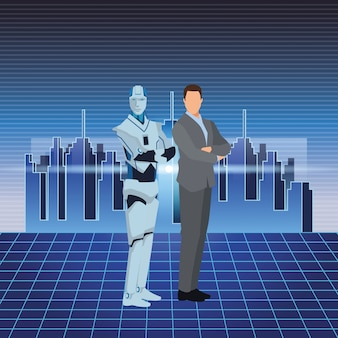 Homme robot et homme d'affaires