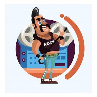 Homme de rocker barbu dans le studio enregistrement personnage de dessin animé