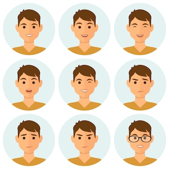 Homme rond avatars expressions faciales