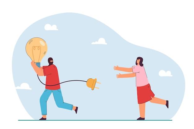 Homme s'enfuyant avec une idée volée symbolisée par une ampoule. homme volant une ampoule à une femme