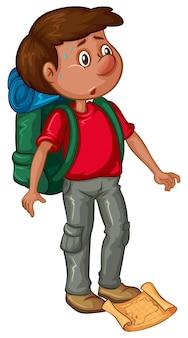 Homme avec sac à dos et carte