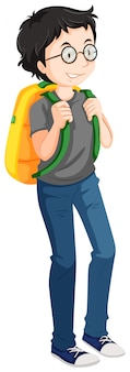 Homme avec sac à dos jaune