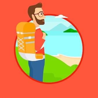 Homme avec sac à dos de randonnée.