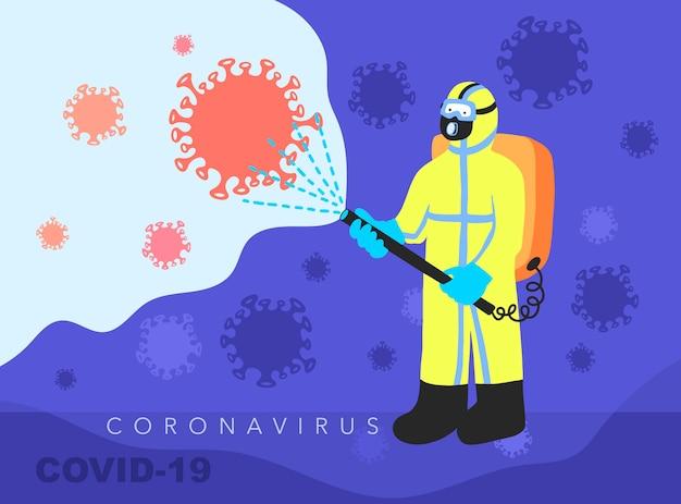 Un homme en salopette désinfecte lutte contre la pandémie de covid-19, coronavirus 2019-ncov