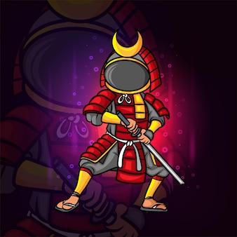 L'homme samouraï cool avec la conception du logo esport du casque d'astronaute de l'illustration