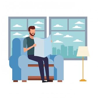 Homme sans visage lisant et chaise