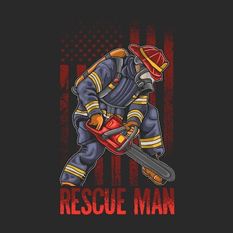 Homme de sauvetage cool lutte contre les incendies