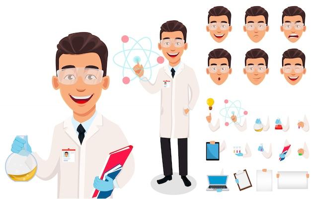 Homme scientifique. beau personnage de dessin animé