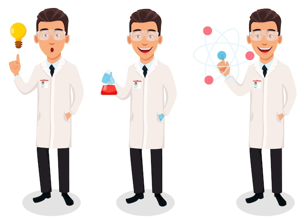 Homme scientifique, beau personnage de dessin animé