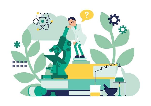 Homme scientifique travaillant avec microscope