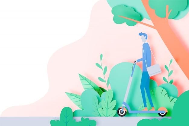 Homme sur un scooter électrique