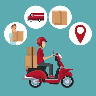 Homme scooter avec des paquets et des icônes livraison rapide