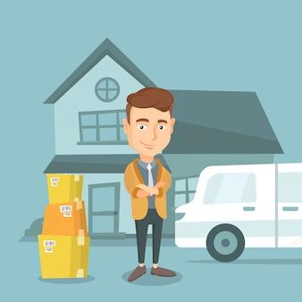 Homme se déplaçant à la maison illustration vectorielle.