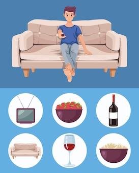 L'homme se détendre dans le canapé