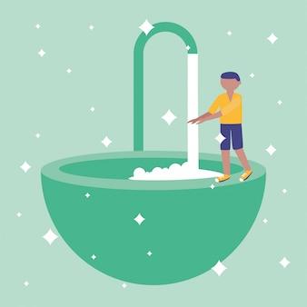Homme se lavant les mains