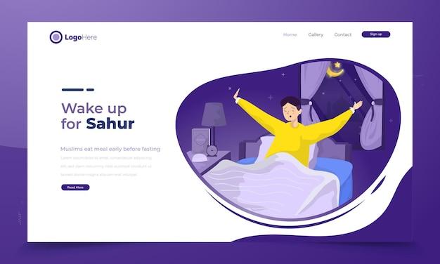 Un homme se lève tôt pour le concept d'illustration sahur ramadan