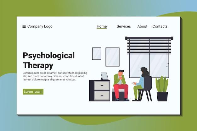 Un homme se plaint à un psychiatre de son problème. modèle de page de destination psychologique.